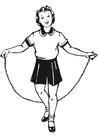 Bilde å fargelegge jente med hoppetau