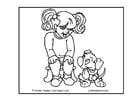 Bilde å fargelegge jente og hund