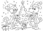 Bilde å fargelegge julegaver til dyr