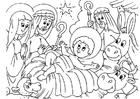 Bilde å fargelegge julekrybbe - Jesus fødsel