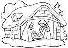 Bilde å fargelegge julekrybbe