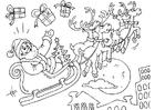 Bilde å fargelegge julenisse med en slede