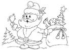 Bilde å fargelegge julenisse med gaver