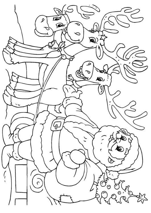 Bilde 229 Fargelegge Julenissen Med Reinsdyr Bil 23062 Images