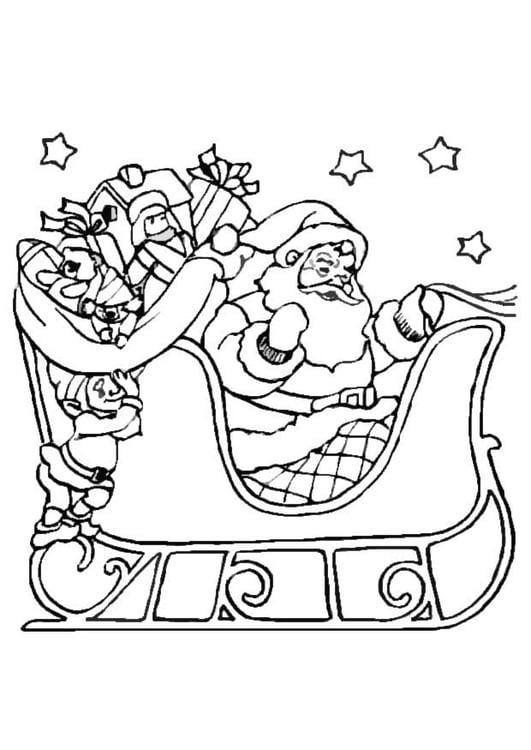 Bilde fargelegge julenissen p sleden bil 8645 - Dessin de noel facile a faire ...