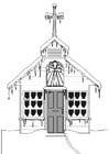 Bilde å fargelegge kirke om vinteren