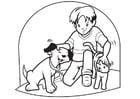 Bilde å fargelegge kjæledegge - hund og katt