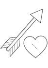 Bilde å fargelegge kjærlighetshjerte - Cupido