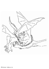 Bilde å fargelegge kjempende drage