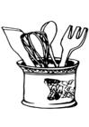 Bilde å fargelegge kjøkkenredskaper