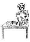 Bilde å fargelegge kvinnelig kokk