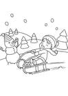 Bilde å fargelegge leker i snøen