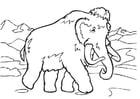 Bilde å fargelegge mammut med langt hÃ¥r