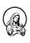 Bilde å fargelegge Maria og Jesus
