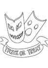 Bilde å fargelegge masker, triks eller godteri