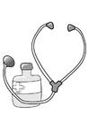 Bilde å fargelegge medisin og stetoskop