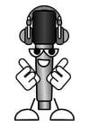 Bilde å fargelegge mikrofon - Ã¥ høre pÃ¥ musikk