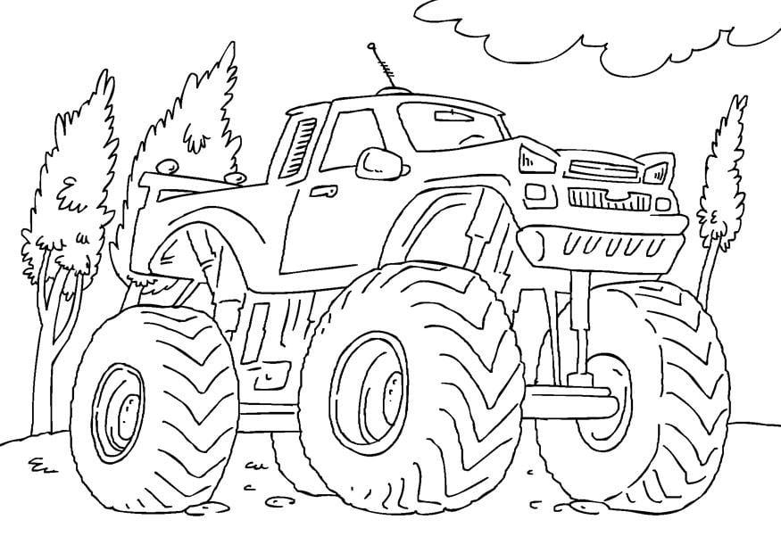 Bilde fargelegge monstertruck bil 27165 - Moissonneuse cars ...