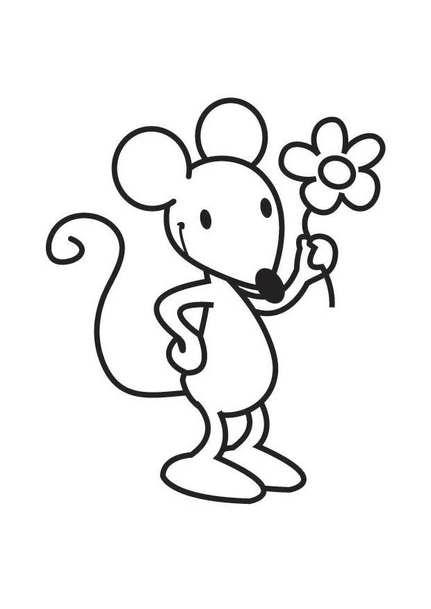 Bilde fargelegge mus med blomster