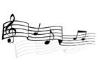 Bilde å fargelegge musikknoter