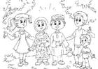 Bilde å fargelegge Muslimske barn med vestlige barn
