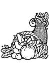 Bilde å fargelegge overflødighetshorn - Thanksgiving Day