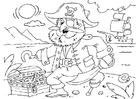 Bilde å fargelegge pirat med skattekiste