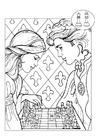Bilde å fargelegge prins og prinsesse spiller sjakk