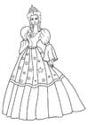 Bilde å fargelegge prinsesse med kjole
