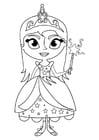 Bilde å fargelegge prinsesse med tryllestav