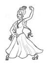Bilde å fargelegge prinsesse som danser flamenco