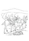 Bilde å fargelegge reise til hest