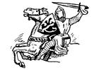 Bilde å fargelegge ridder angriper