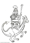 Bilde å fargelegge ridder pÃ¥ en drage