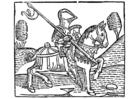 Bilde å fargelegge ridder til hest