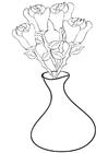 Bilde å fargelegge roser i en vase
