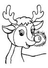 Bilde å fargelegge Rudolf er rød pÃ¥ nesen