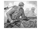 Bilde å fargelegge scene fra den første verdenskrig
