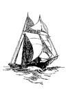 Bilde å fargelegge seilbÃ¥t