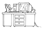 Bilde å fargelegge skrivebord og datamaskin
