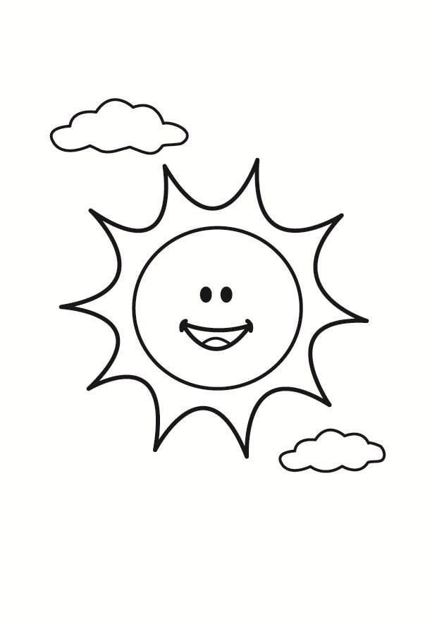 Bilde  fargelegge sol  bil 23356