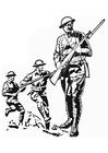 Bilde å fargelegge soldat - første verdenskrig