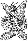 Bilde å fargelegge sommerfugl-dronning