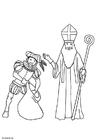 Bilde å fargelegge St. Nikolaus og Svarte-Petter
