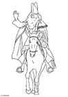 Bilde å fargelegge St. Nikolaus pÃ¥ sin hest