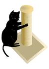Bilde å fargelegge stolpe med katt