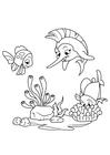 Bilde å fargelegge sverdfisk leker med fisk