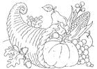 Bilde å fargelegge thanksgiving kurv - Cornucopia