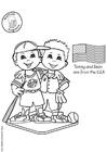 Bilde å fargelegge Tommy og Sean fra USA
