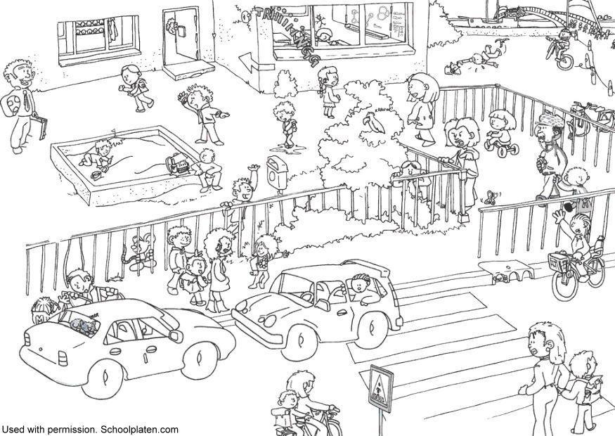 Bilde fargelegge trafikk ved skolen bil 5367 - Coloriage domino ...